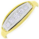 Diamantring 0,28ct River Brillanten, Gelbgold Weissgold