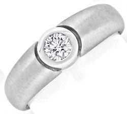 Foto 1, Brillant Ring 0,31 River Lupenrein 18K Weissgold Luxus!, S9783
