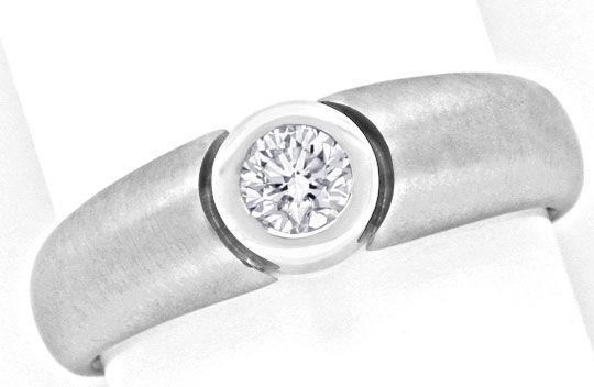 Foto 2, Brillant Ring 0,31 River Lupenrein 18K Weissgold Luxus!, S9783