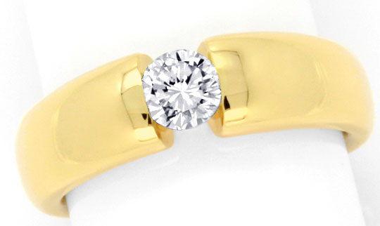 Foto 2, Diamant Spannring 0,48ct DPL Expertise, Gelbgold Luxus!, S9784