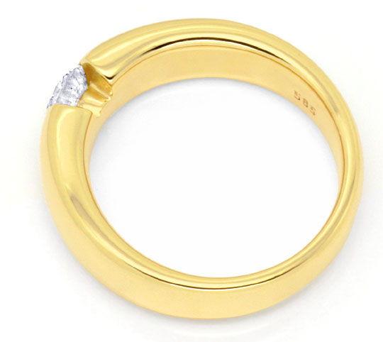 Foto 3, Diamant Spannring 0,48ct DPL Expertise, Gelbgold Luxus!, S9784