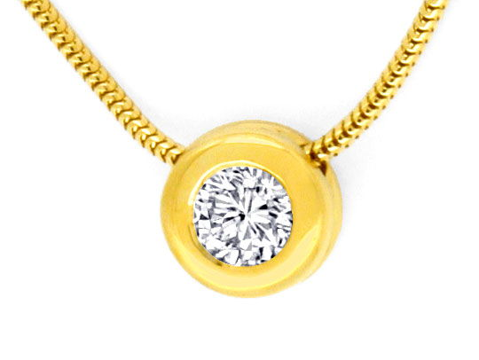 Foto 2, Diamant Collier 0,52ct Wesselton VS 18K Gelbgold Luxus!, S9790