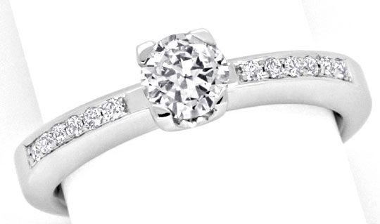Foto 2, Solitär Diamantring Weissgold, Brilliant Schiene Luxus!, S9794