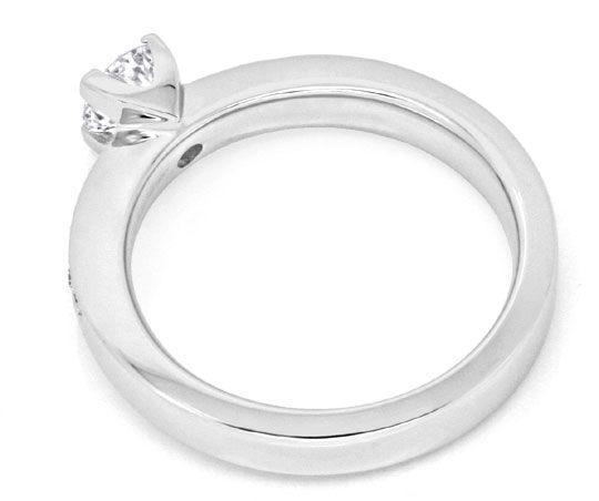 Foto 3, Solitär Diamantring Weissgold, Brilliant Schiene Luxus!, S9794