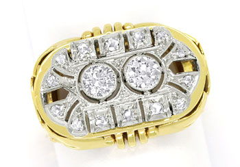 Foto 1, ArtDeco Diamantring mit 0,71ct Diamanten in Gold Platin, S9799