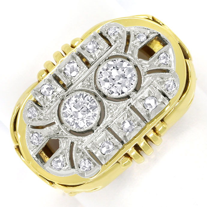 Foto 2, ArtDeco Diamantring mit 0,71ct Diamanten in Gold Platin, S9799