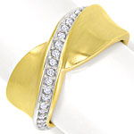 Design Diamantring mit 23 River Brillanten 14K Gelbgold