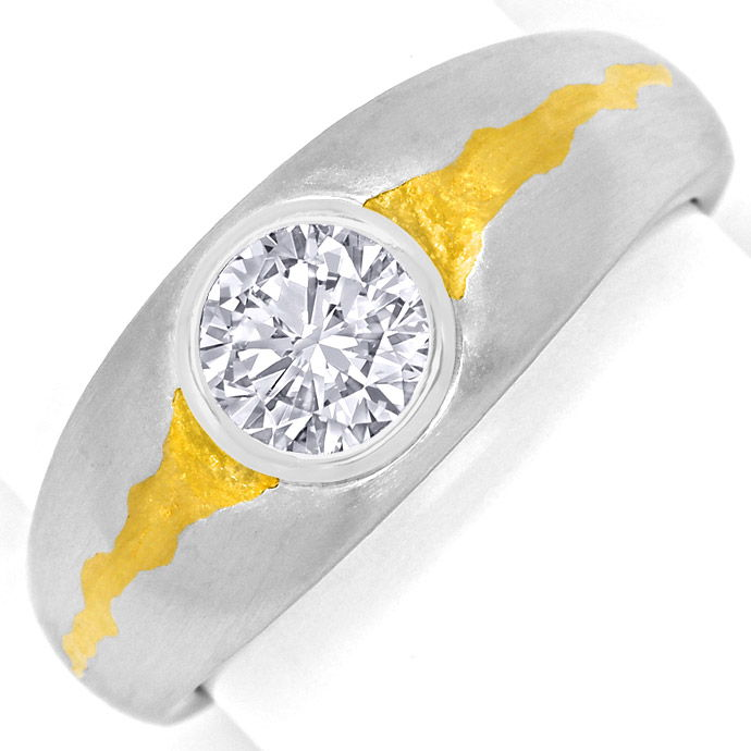 Riesiger 1,5ct Brillant Solitär lupenrein in Platinring, Designer Ring
