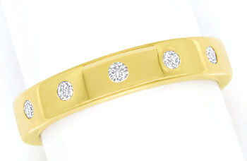 Foto 1, Gold Diamant Ring mit 0,10ct Brillanten in 14K Gelbgold, S9810