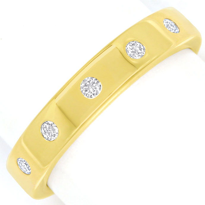 Foto 2, Gold Diamant Ring mit 0,10ct Brillanten in 14K Gelbgold, S9810