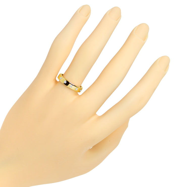 Foto 4 - Gold Diamant Ring mit 0,10ct Brillanten in 14K Gelbgold, S9810