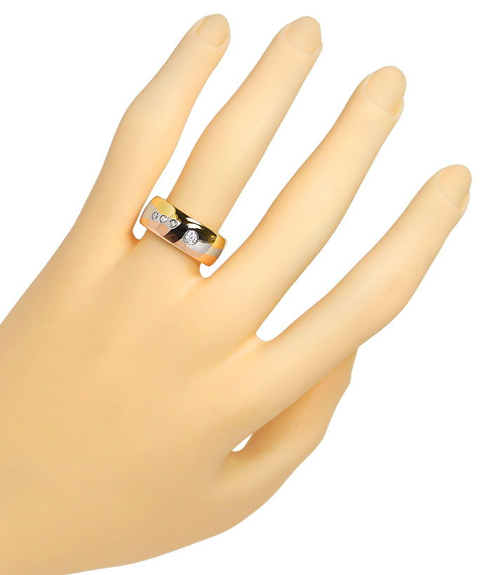 Foto 4, Tricolor Ring Wellen Muster 0,13ct lupenreine Diamanten, S9814
