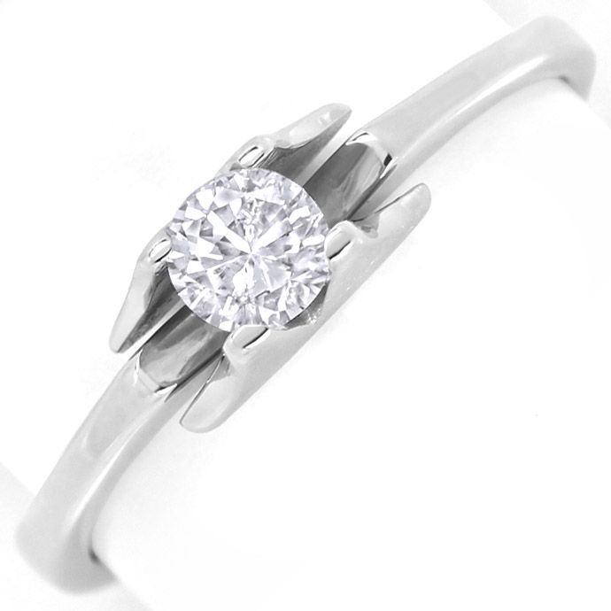 Brillant Solitär 0,26ct in Design Krappenring Weissgold, Designer Ring