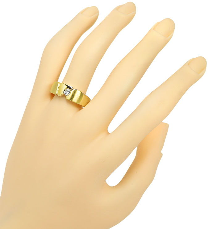 Foto 4 - Designer Bandring mit 0,15ct River Brillant in 14K Gold, S9820