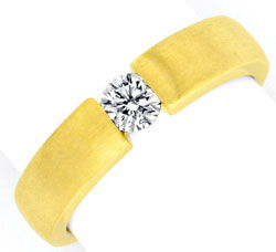Foto 1, Eckiger Brilliant Diamant Spannring 18K Gelbgold Luxus!, S9821
