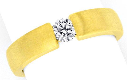 Foto 2, Eckiger Brilliant Diamant Spannring 18K Gelbgold Luxus!, S9821
