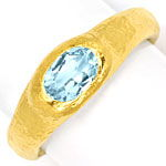 Aquamarin in Feingold Ring 24K Rohgold Design gehämmert