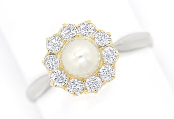 Foto 1, Diamantenring mit Perle 0,44ct Diamanten in Platin Gold, S9830