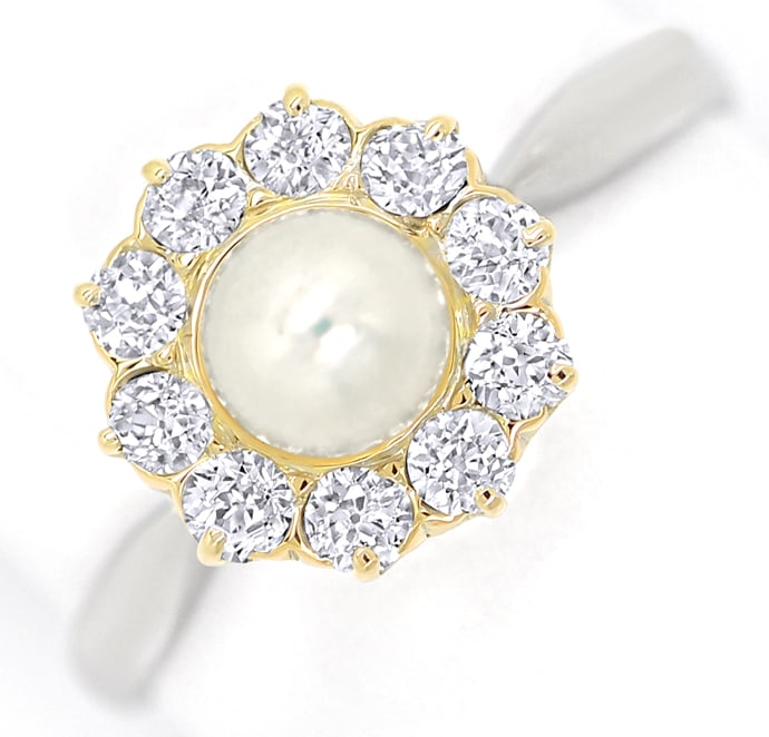 Foto 2, Diamantenring mit Perle 0,44ct Diamanten in Platin Gold, S9830