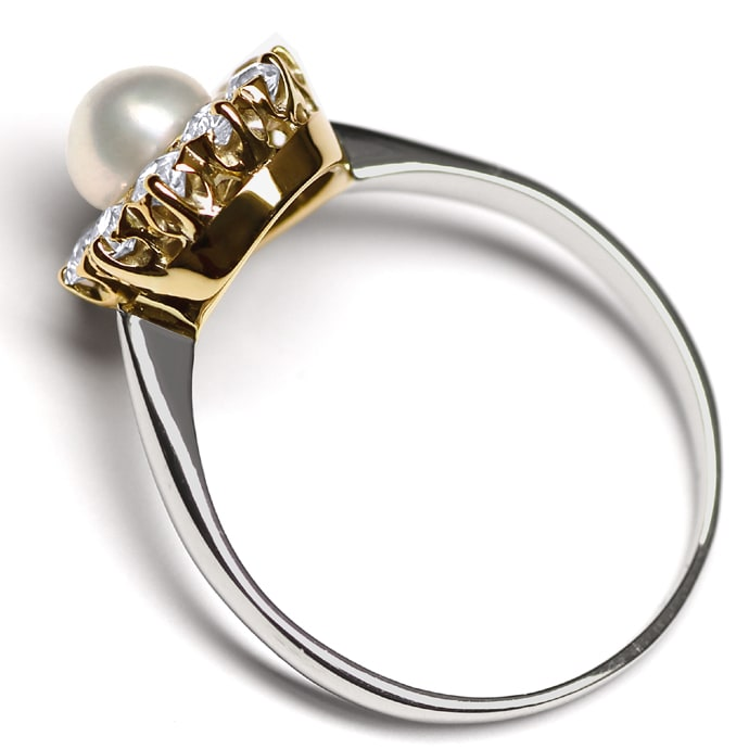 Foto 3 - Diamantenring mit Perle 0,44ct Diamanten in Platin Gold, S9830