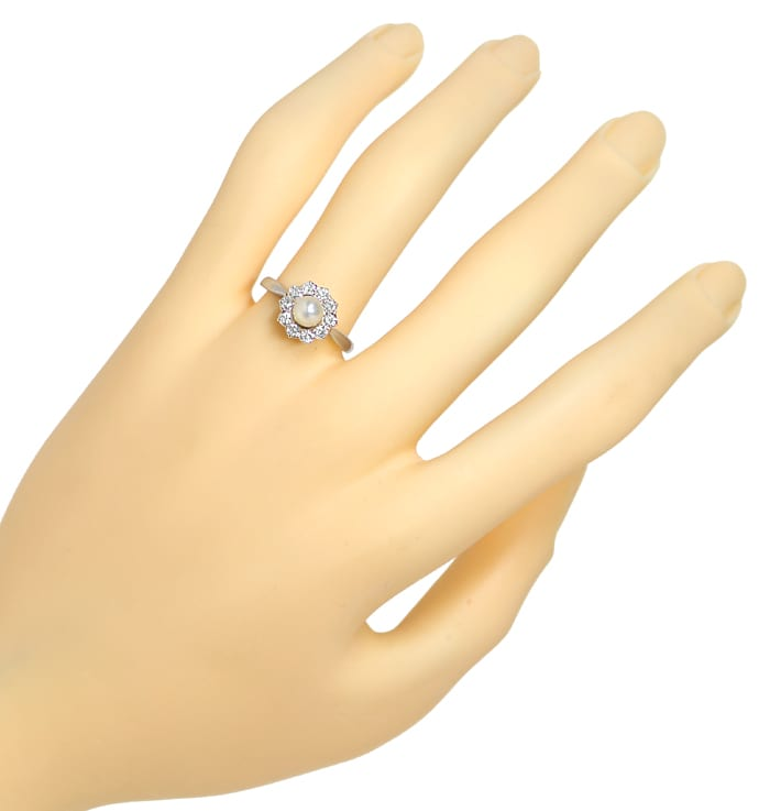 Foto 4, Diamantenring mit Perle 0,44ct Diamanten in Platin Gold, S9830