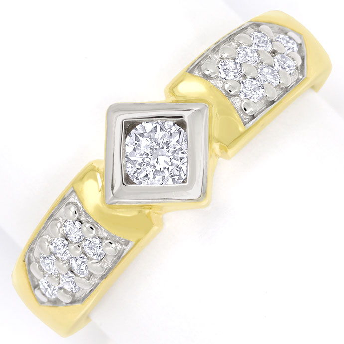 Foto 2, Edler Diamantring mit 0,50ct Brillanten in 14K Gelbgold, S9852