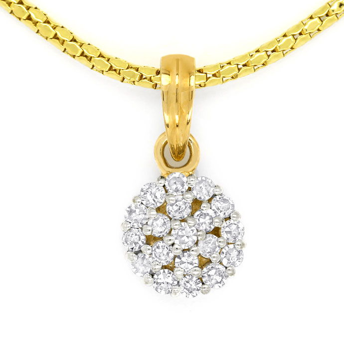 Foto 2, Dekoratives Gold Kollier mit 0,23ct Diamanten, in 585er, S9879