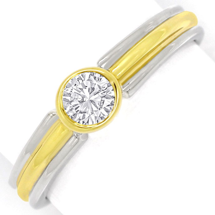 Diamantring mit 0,24ct Brilliant Solitär in 14k Bicolor, Designer Ring