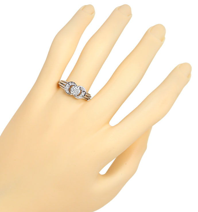 Foto 4, Handarbeits Ring mit 0,67ct Diamanten in 585er Weißgold, S9887