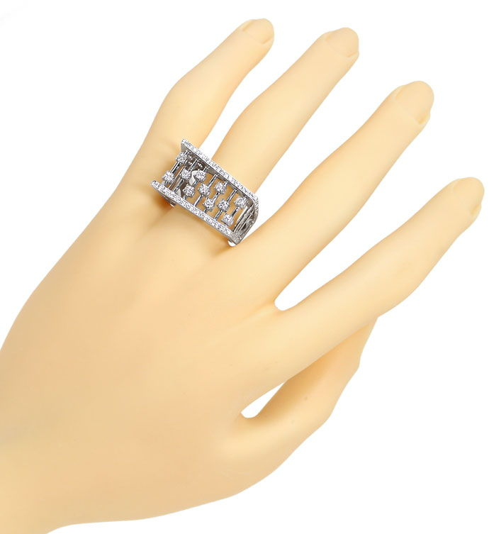 Foto 4, Designer Ring Handarbeit mit 0,65ct Brillanten 18K Gold, S9898
