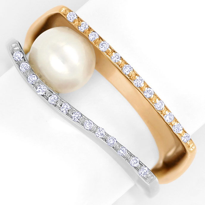 Foto 2 - Diamantring mit Perle und 25 Brillanten in Bicolor Gold, S9900