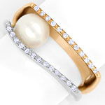 Diamantring mit Perle und 25 Brillanten in Bicolor Gold