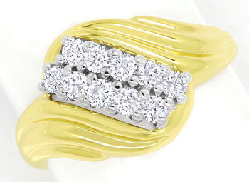 Foto 1 - Diamantring mit 0,50ct River Brillanten in Bicolor Gold, S9901