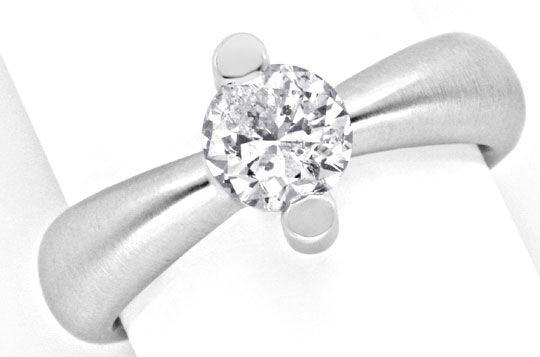 Foto 2, Brillant Einkaräter Ring Topdesign 18K Weissgold Luxus!, S9904