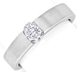 Foto 1, Diamant Spannring Halbkaräter Oval 18K Weissgold Luxus!, S9905