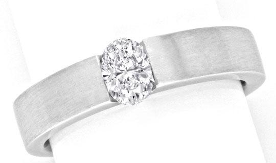 Foto 2, Diamant Spannring Halbkaräter Oval 18K Weissgold Luxus!, S9905