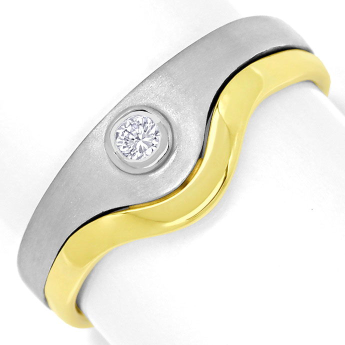 Foto 2, Design Ring mit 0,06ct Brilliant in Platin und Gelbgold, S9907
