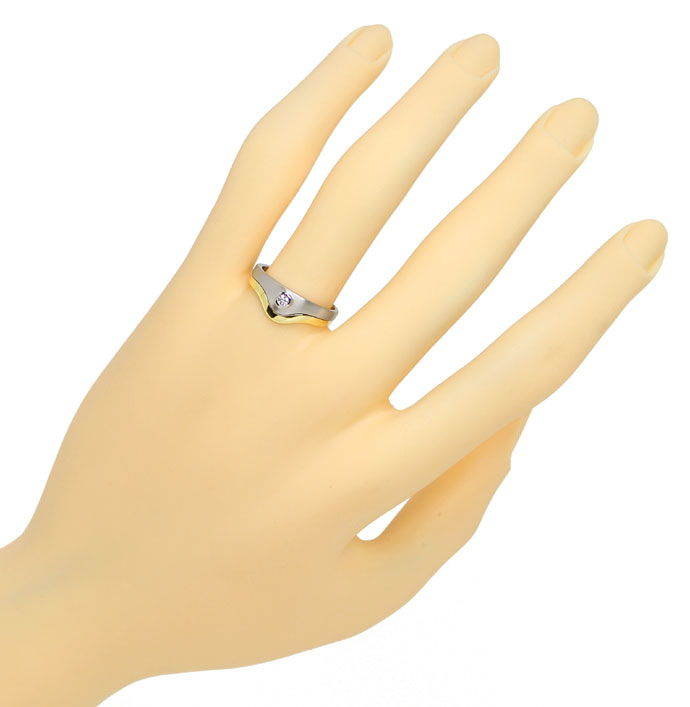 Foto 4, Design Ring mit 0,06ct Brilliant in Platin und Gelbgold, S9907