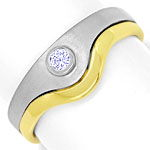 Design Ring mit 0,06ct Brilliant in Platin und Gelbgold