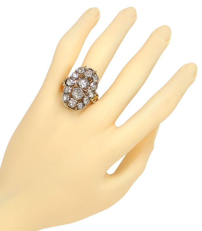 Foto 4, Sensationeller antiker Ring riesige Diamantrosen 3,15ct, S9930