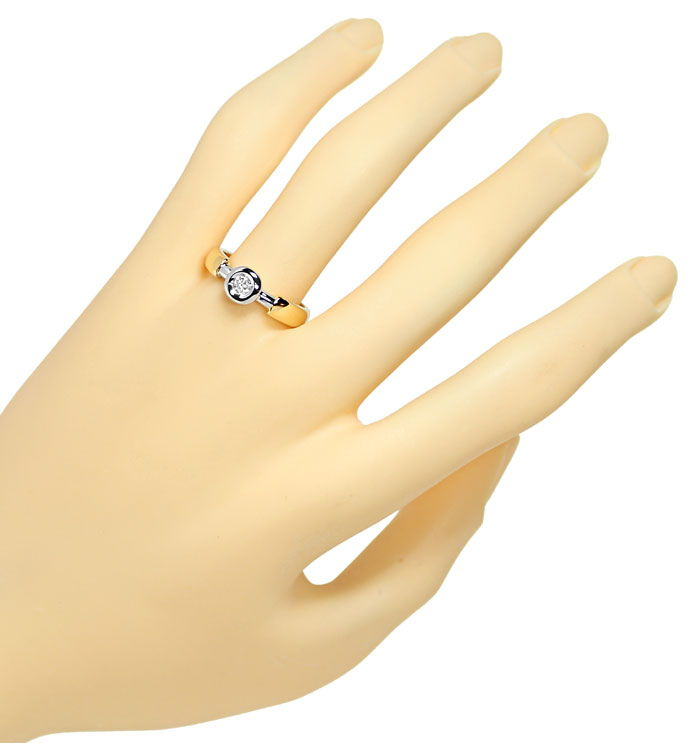 Foto 4 - Diamantring 0,13ct Brillant Solitär in 14K Bicolor Gold, S9936