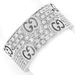 Icon Stardust Gucci Ring breit 110 Brillanten Weissgold