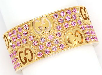Foto 1, Gucci Icon Stardust Ring breit 110 rosa Saphire Rotgold, S9938