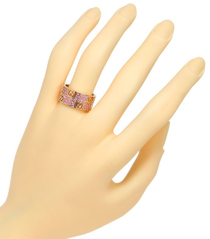 Foto 4 - Gucci Icon Stardust Ring breit 110 rosa Saphire Rotgold, S9938