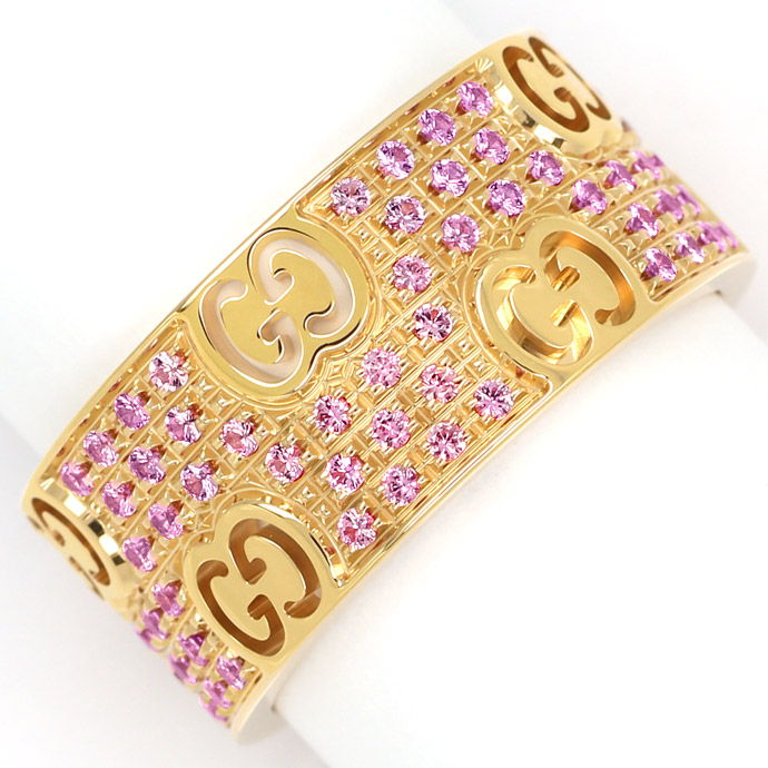 Gucci Icon Stardust Ring breit 110 rosa Saphire Rotgold, Edelstein Farbstein Ring