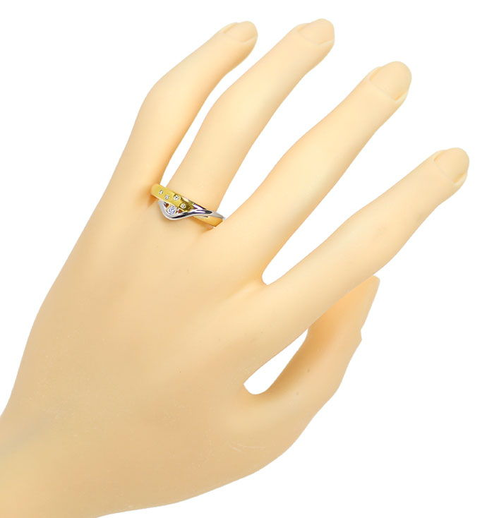Foto 4, Design Diamantring Bicolor mit River Diamanten 14K Gold, S9942