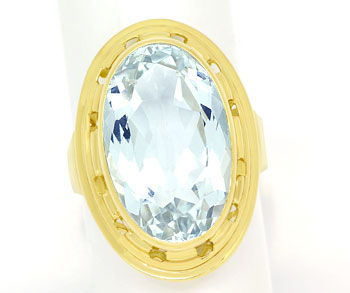 Foto 1, Riesiger ovaler Aquamarin 12ct in Goldring 14K Gelbgold, S9976