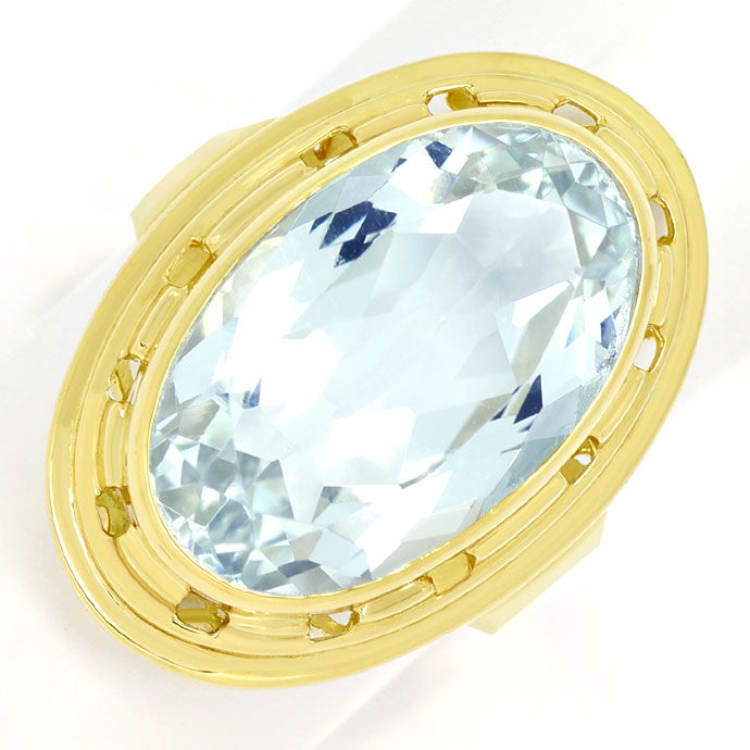 Foto 2, Riesiger ovaler Aquamarin 12ct in Goldring 14K Gelbgold, S9976