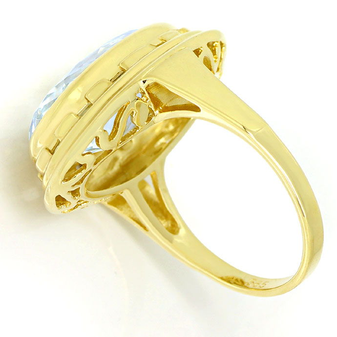 Foto 3 - Riesiger ovaler Aquamarin 12ct in Goldring 14K Gelbgold, S9976
