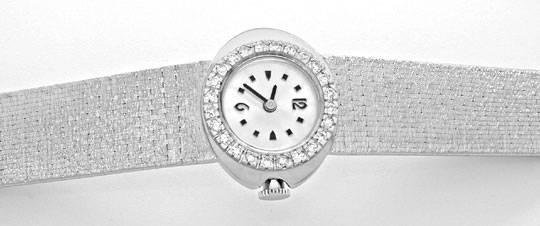 Foto 1, Damen-Diamant-Armbanduhr, 18K-Wg River Lupenrein Topuhr, U1003